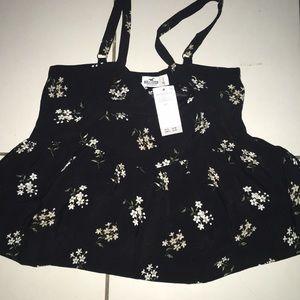Holister Girls floral black blouse